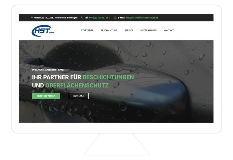 HST GmbH Referenz Desktop, modernes Webdesign, HTML Website erstellen lassen, Schwäbische Alb