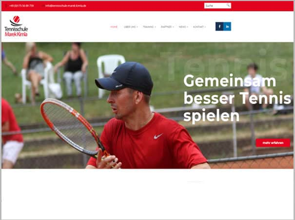 Tennisschule Marek Kimla Referenz, WordPress Webdesign