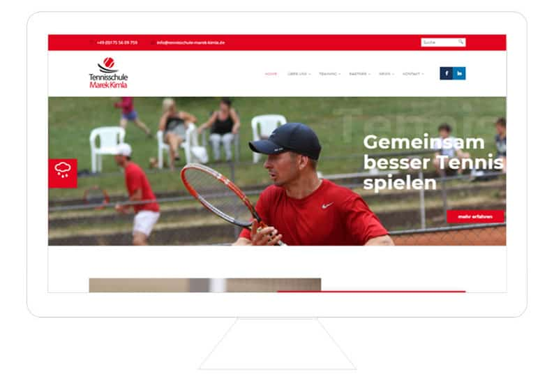 Tennisschule Marek Kimla Referenz Desktop, WordPress Webdesign