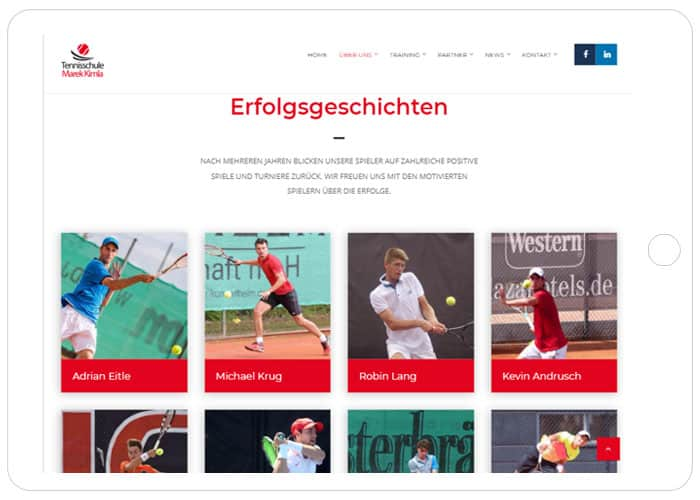 Tennisschule Marek Kimla Referenz Tablet, WordPress Webdesign