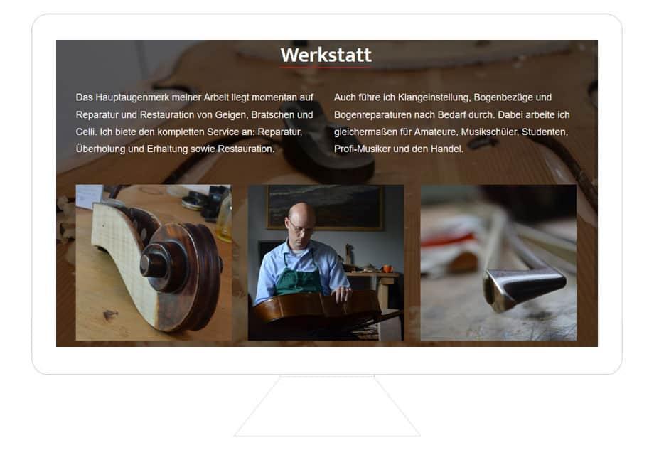 Geigenbau Mulkerrin Referenz, günstiges Webdesign, HTML Intrnetseite erstellen lassen, Reutlingen