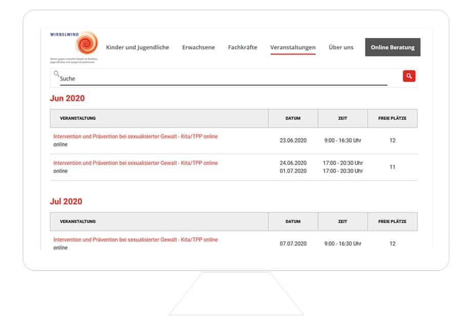 Wordpress Schulung Reutlingen, Wordpress Webseite von Wirbelwind e. V., online Buchungssystem